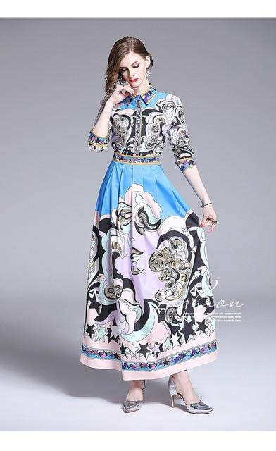 Women's Runway Floral Maxi Dress Shirt Long Sleeve Robe Angels Horses Print Striped Pleated Holiday Casual Autumn Dress