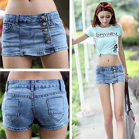 Women's Fashion Summer Sexy Slim Blue Denim Fabric Jeans Shorts Hot Skirt