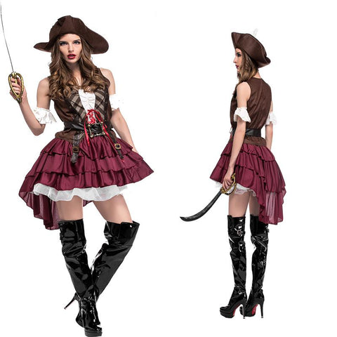 Adult Women Halloween Jack Pirate Sparrow Costume Short Sexy Fancy Vintage Sleeveless Dress Cosplay Cool Layer Outfit For Girls