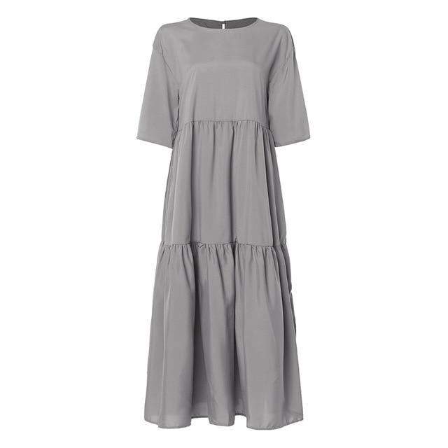 Celmia Summer Dress Women O Neck Half Sleeve Casual Loose Pleated Long Shirt Dresses Solid Party Maxi