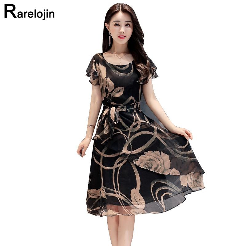 Summer dress Korean women fashion slim plus size print chiffon dress O-neck A-type midi dress women dress