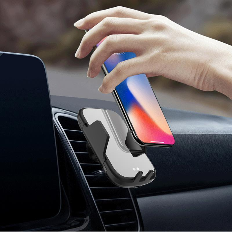 Fashion Free shipping 10W Fast Charging Qi Wireless Car Charger Auto Clamping Infrared Sensor Phone Holder For iPhone XS Max Samsung S8 xiaomi 9