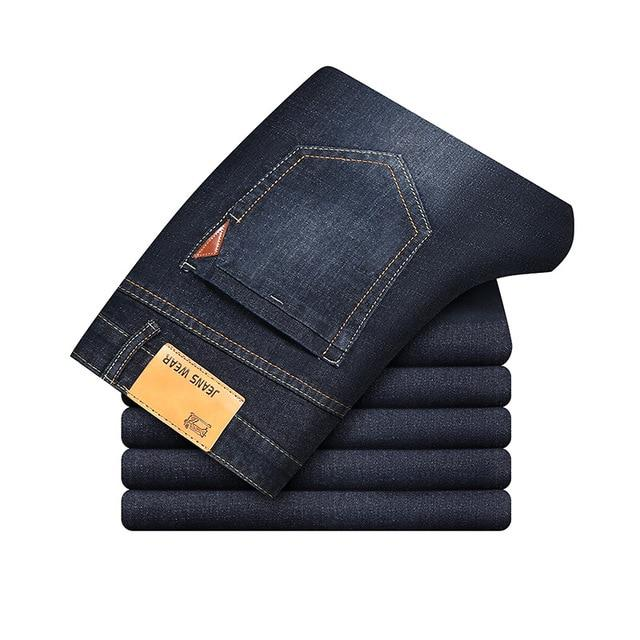 Free shipping New Autumn Winter Men's Brand Jeans Men Regular Fit Jeans Denim Causal Pants Washed Blue Jean For Men Brand