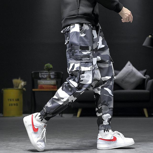 Free shipping Men Camouflage  Joggers Casual Pants Autumn Men's Big Pockets Harem Cargo Pants Male Hip Hop Streetwear Overalls Sweatpants