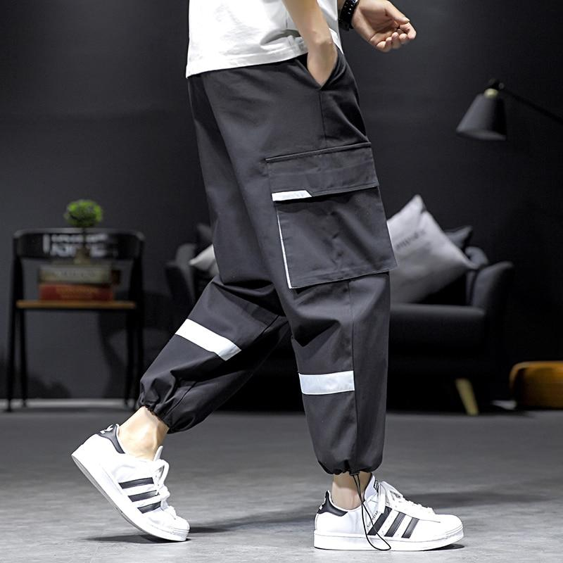 Free shipping Summer Plus Size M-5XL Men High Quality Street Casual Cargo Pants Pockets Joggers Streetwear Trousers Harajuku Clothes