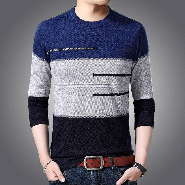 Free shipping Fashion Brand Sweaters Men Pullover O-Neck Slim Fit Jumpers Knitwear Striped Winter Korean Style Casual Men's Clothes