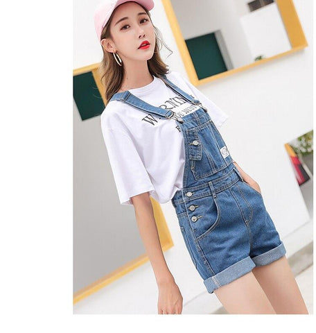 Free shipping Fashion women casual jean overalls shorts online sale