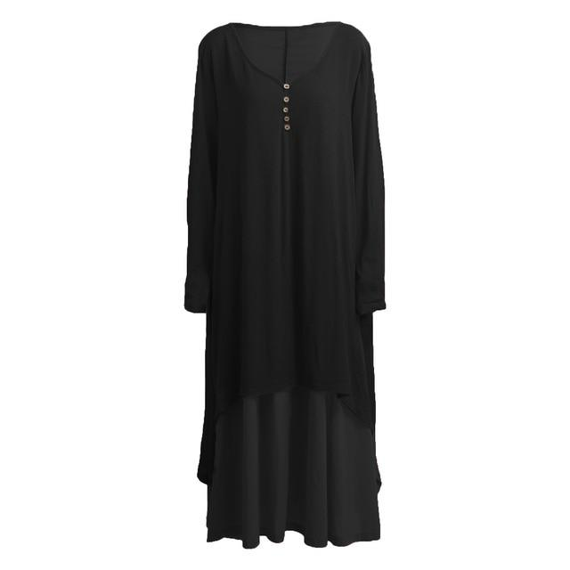 White 5XL Plus Size Long Sleeve Autumn Dress Women V-neck 2 Layer Asymmetric Casual Maxi Long Dress Ladies Summer Sundress