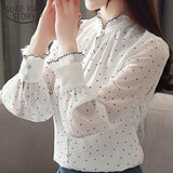 Fashion women blouse spring Long sleeve Lady blouse and stand neck Chiffon shirts Dot pattern Puff sleeve Lady