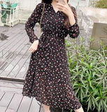 Fall Long Sleeve Midi Dress Women Floral Printing Pleated Hem Chiffon Dress Fashion Women Clothing