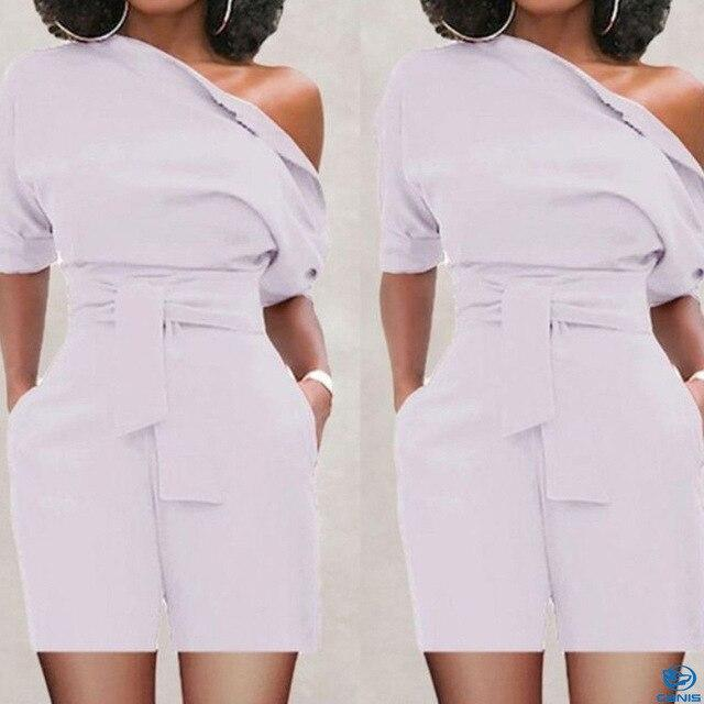 7color New Brand Women Casual Striped Short Mini Clubwear Ladies Playsuit One Shoulder High Waist Plus Size