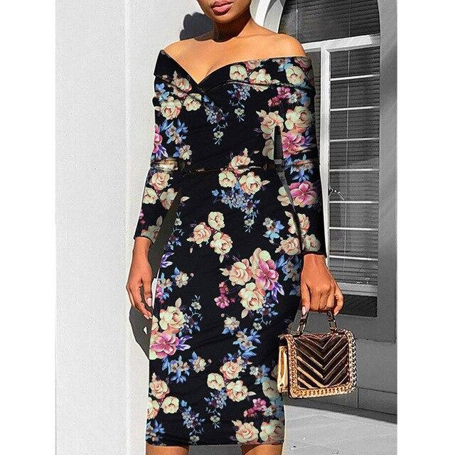 Fashion Brand Newest Women's Floral Print Midi Strapless Dress Autumn Party Clubwear Long Sleeve Bodycon Dress Plus Size Dresses