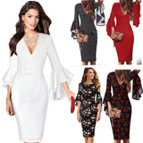 Elegant Women Sexy V-Neck Sexy Plus Size Club Dress Formal Plain Bodycon