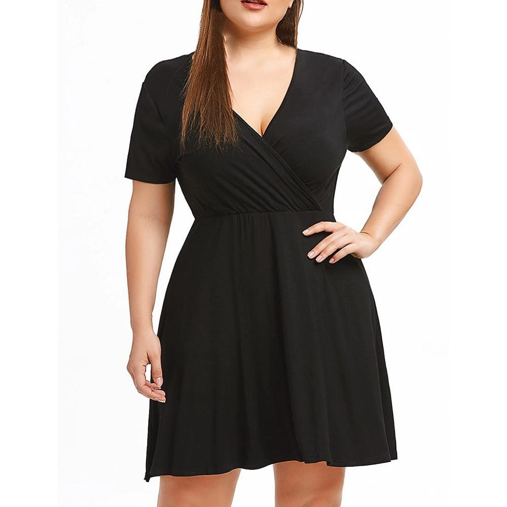 Free shipping Woman Summer V-Neck Casual Short Sleeve Plus Size Club Dress Women