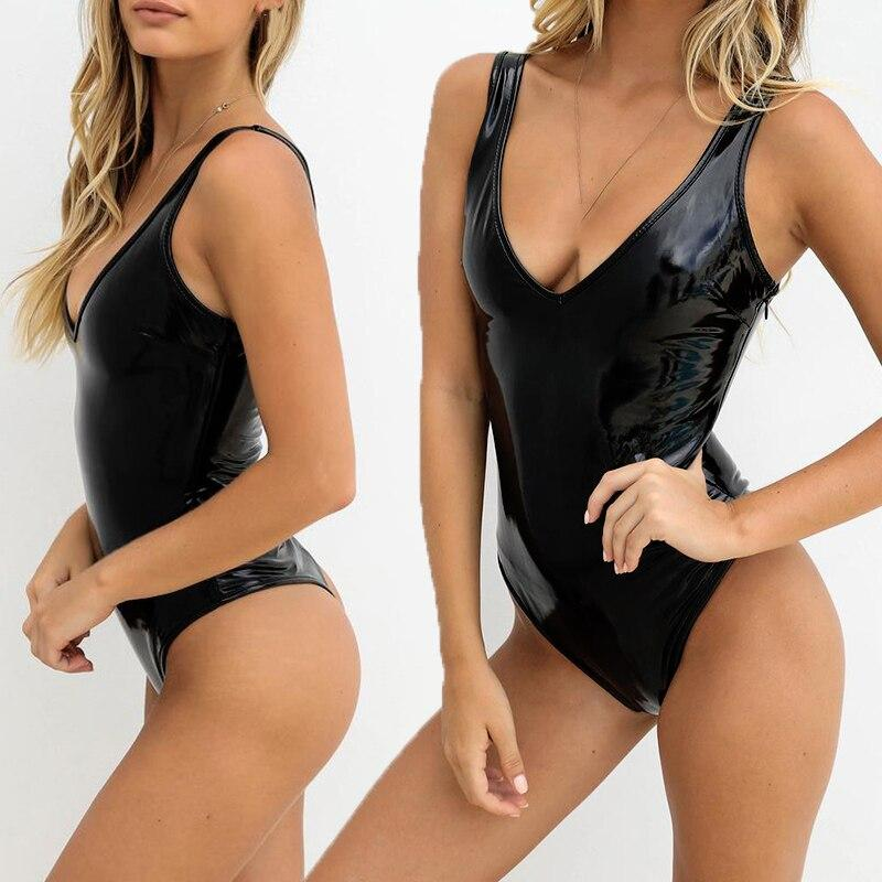 Ladies Romper Bodysuit Clubwear Faux Leather Leisure Wet Look Lingerie Sleeveless
