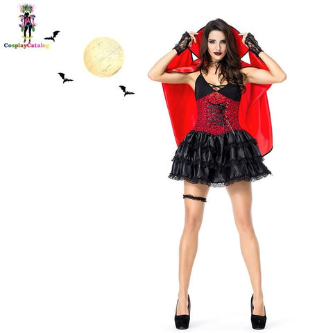Halloween scary vampire woman costume with dresses/cloak/glove adult women bat costumes Easter Uniforms