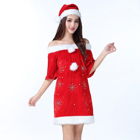 Christmas Dress Female Christmas Costume Nightclub Stage Women Winter Costume Sexy Dress