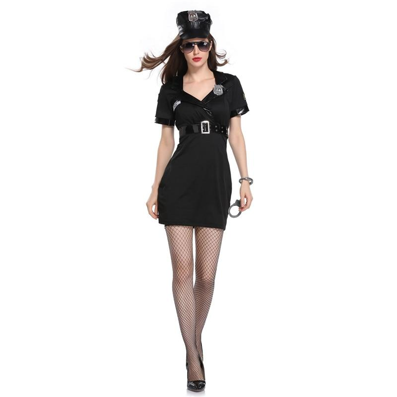 Halloween Policewoman Costumes Adult ladies Short Sleeve black Female Officer Cop Costume Uniform Party Sexy Police Costume