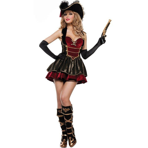 Classic Caribbean Pirate Costume Adult Women Halloween Pirate Role Playing Cosplay Fancy Party Dress Up Ladies Carnival Outfit