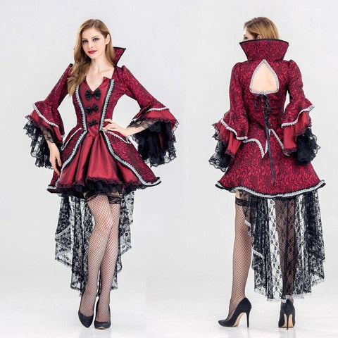 Vampire Princess Dresses Cosplay Female Medieval Retro Style Halloween Carnival Party Perform Temperament Bow Embroidery Costume