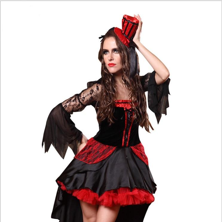 Halloween Sexy Adult Women Vampire Costumes Red Black Queen Witch Cosplay Swallowtail Fancy Dress Carnival Christmas Party