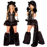 Role cosplay black vinyl cat costume for carnival faux fur animal vinyl Halloween costume