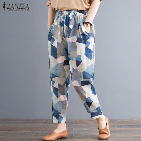ZANZEA Free shipping Vintage Printed Harem Pants Women Casual Elastic Waist Loose Trousers Autumn Party Long Turnip
