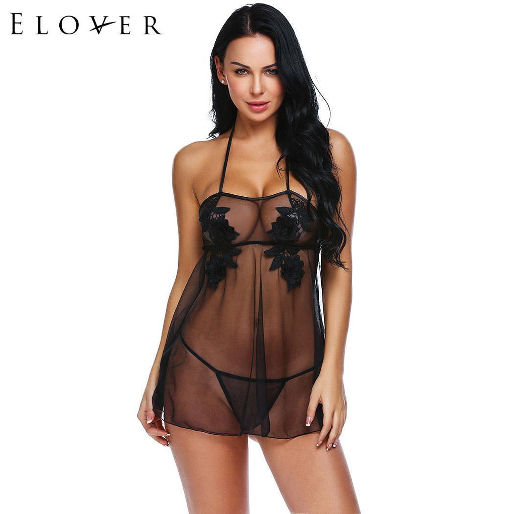 Women Sexy Lingerie Babydoll Chemises See-through Floral Lace Embroidery Porno Dress Nightwear with G-string Erotic Costumes
