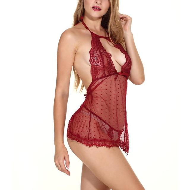Free shipping Women Sexy Erotic Lingerie Sexy Porno Backless Lace Up Babydoll Dress
