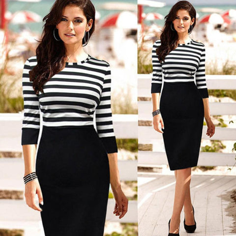 Hot Sale 1PC Fashion  Women Lady Slim Casual Striped Bodycon Clubwear Pencil Dress Plus Size &Wholesale