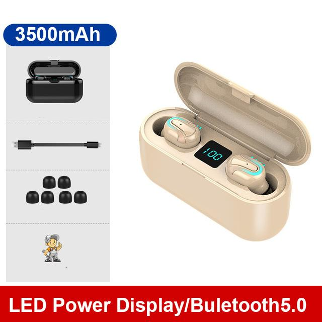 TEBAURRY TWS V5.0 Bluetooth Earphone Wireless Headphones Mini Wireless Earbuds 6D HiFi Stereo Headset  with 3500mAh Power Bank