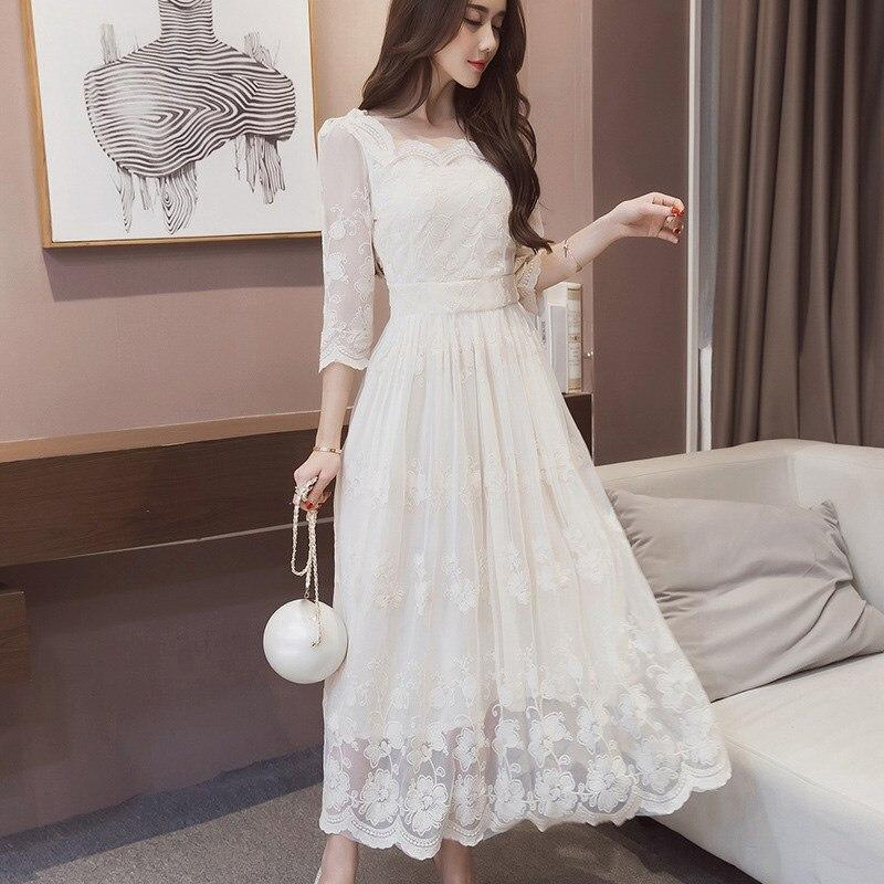 Summer Vintage Floral Print Long Dress Casual Pleated Half Sleeve Lace Dress Women Party White Dress
