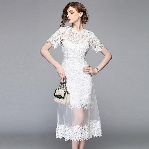 Fashion high quality elegant water soluble lace stitching mesh white dress high waist slim slimming temperament dress