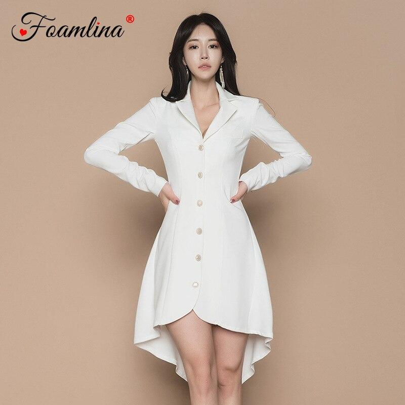 Foamlina Women White Dress Elegant Spring V Neck Long Sleeve Buttons Lace Up Back Long A Line Casual Office Ladies Dresses
