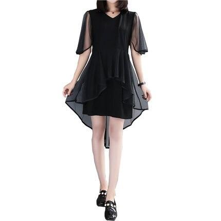 Summer Dress Korean Ladies Plus Size Black Dress Elegant Dress V-Neck Short Sleeve Fashion Hot
