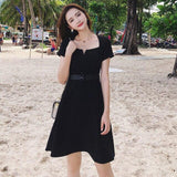 Summer Vintage Sexy Black Boho Dress Plus Size Elegant Women Club Midi Dresses Party Korean Casual
