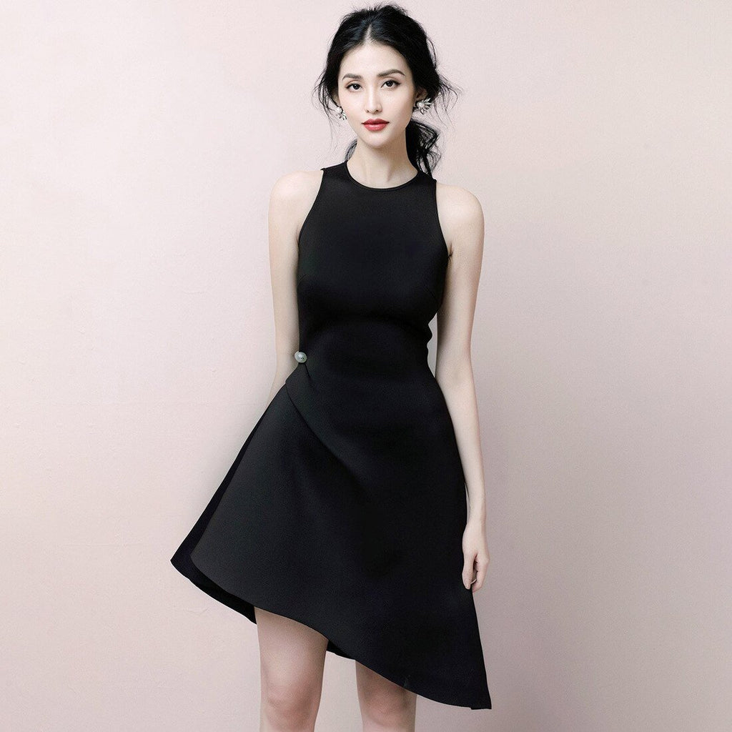 Runway Summer Irregular Black Fashion Women Beading Sleeveless Party Dress Chic Female Tank Slim Short Dress