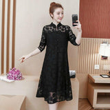 Spring Summer Vintage Lace Dress Fashion Women Casual Hollow Out Elegant Long Sleeve Black Red Dresses Plus Size