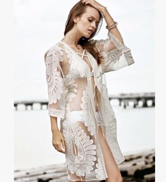 Free shipping Swimwear Cover Up Women Swim Dress Pareos Bath Robe Beach Ups Summer Tunics Clothes Outside Hollow Perspective Back Lace Crochet