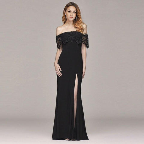 High-end Lace Off-shoulder Evening Dress Mermaid Split Front Dress Sexy Backless Floor-length Dress Elegant