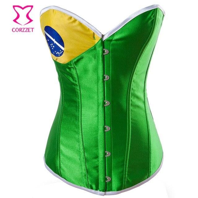 Fashion Print Satin Overbust Brazil Flag Corset Burlesque Corpetes Corseletes Steel Boned Corsets and Bustiers Gothic Clothing