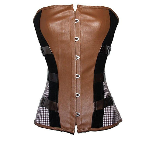 New fashion Brown leather corset Black cool girl sexy bodysuit Faux sexy club wear for women leather clothing