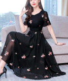 Plus Size M-3XL Summer New Arrival  Hot Sale Flower Embroidery V Collar Short Sleeve Woman Chiffon Long Dress
