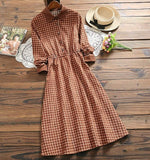 Women corduroy dress autumn winter female fashion vintage plaid elegant a-line dress long sleeve casual corduroy dress