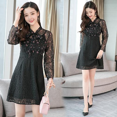 Vintage Chiffon Lace Long Sleeve Mini Dresses Autumn Winter Plus Size Black Sexy Women Dress Elegant