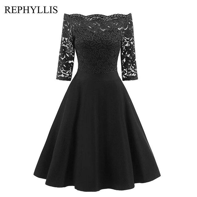 REPHYLLIS Women Lace 1/2 Sleeve Vintage Stitching Cocktail Wedding Guest Party Ceremony Elegant Midi Dress