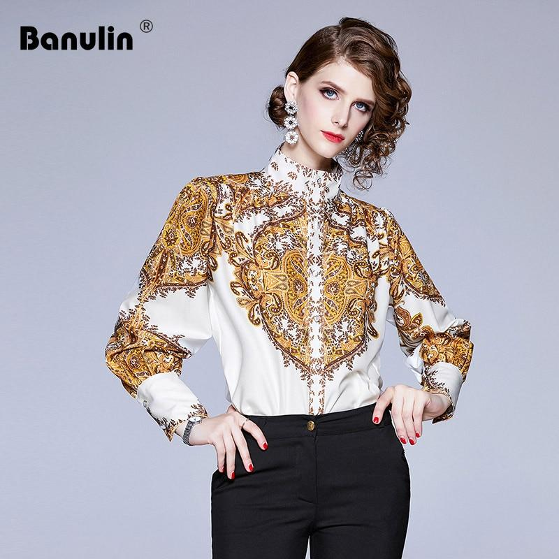 Banulin Paisley Print Elegant Blouse Shirt For Women Stand Collar Lantern Sleeve White Yellow Blouse Female Fashion New