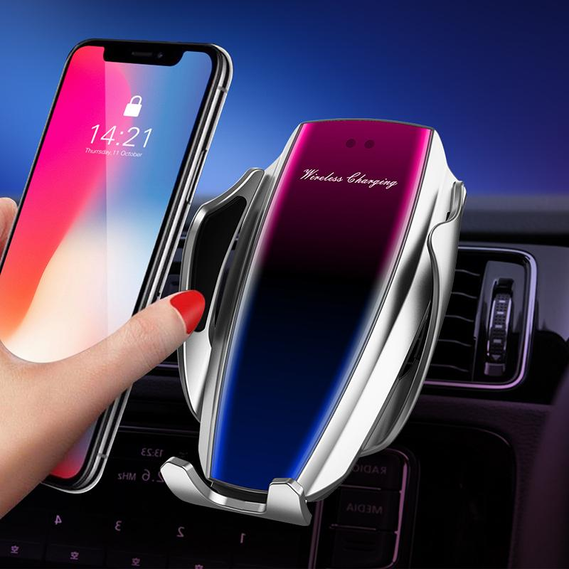 10W Wireless Car Charger Automatic Fast Charging Phone Holder Mount in Car For iPhone 8 X XS Max Samsung S10 S9 Plus Smart Phone