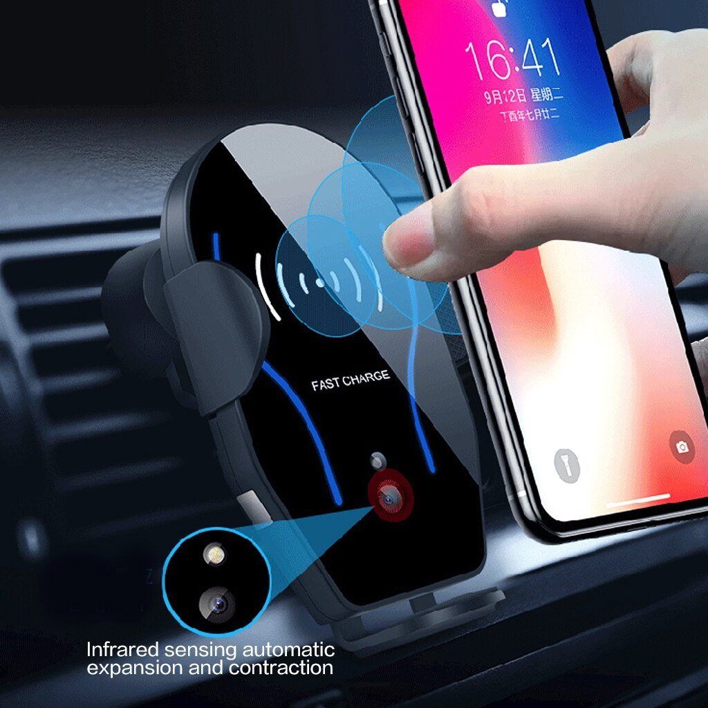 Gravity belt 10W car charger wireless QI car vent bracket for iphone Xs X 8 infrared sensor fast automatic charging wireless