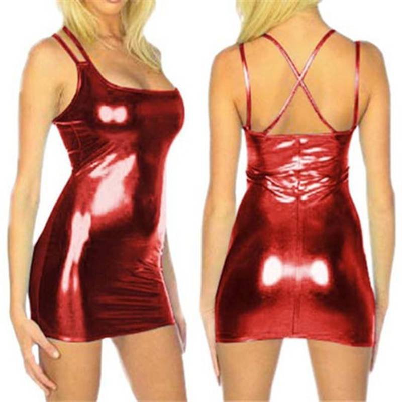 Women PVC Bandage Dress Ladies Latex Leather Dress Sexy Party Wet Look Clubwear Disco
